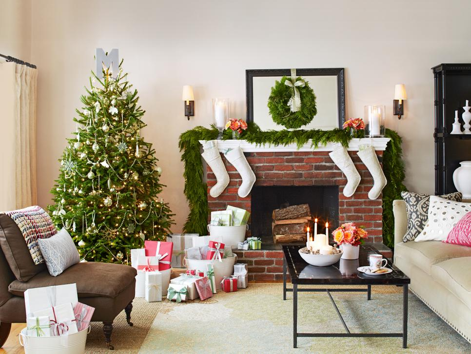 Delightful Living Room Design Using Fireplace also Christmast Decor