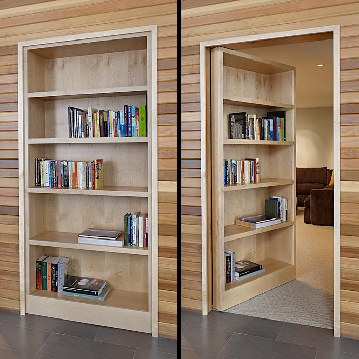 Fancy Wooden Wall Panelling alsi Chic Hidden Door Bookcase For Living Space