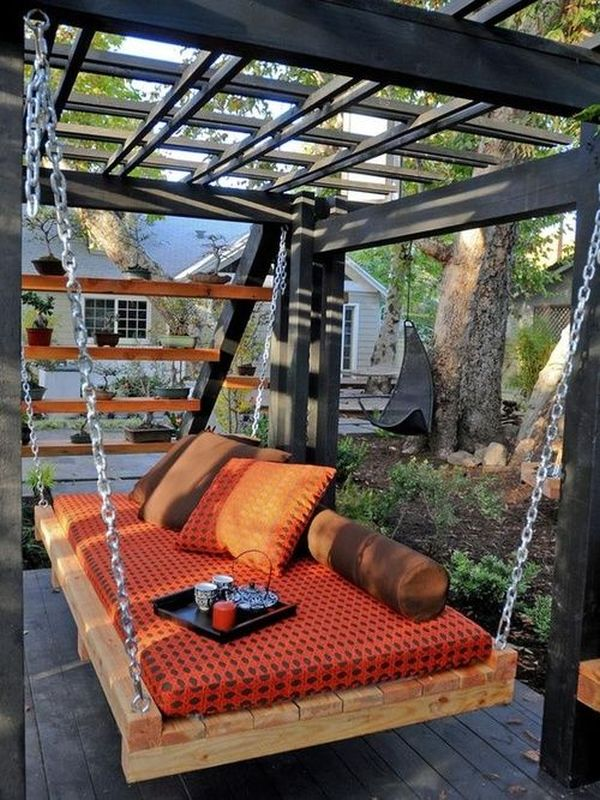 Fantastic Patio Using Lavish Outdoor Bed Swing With Chain Pipes