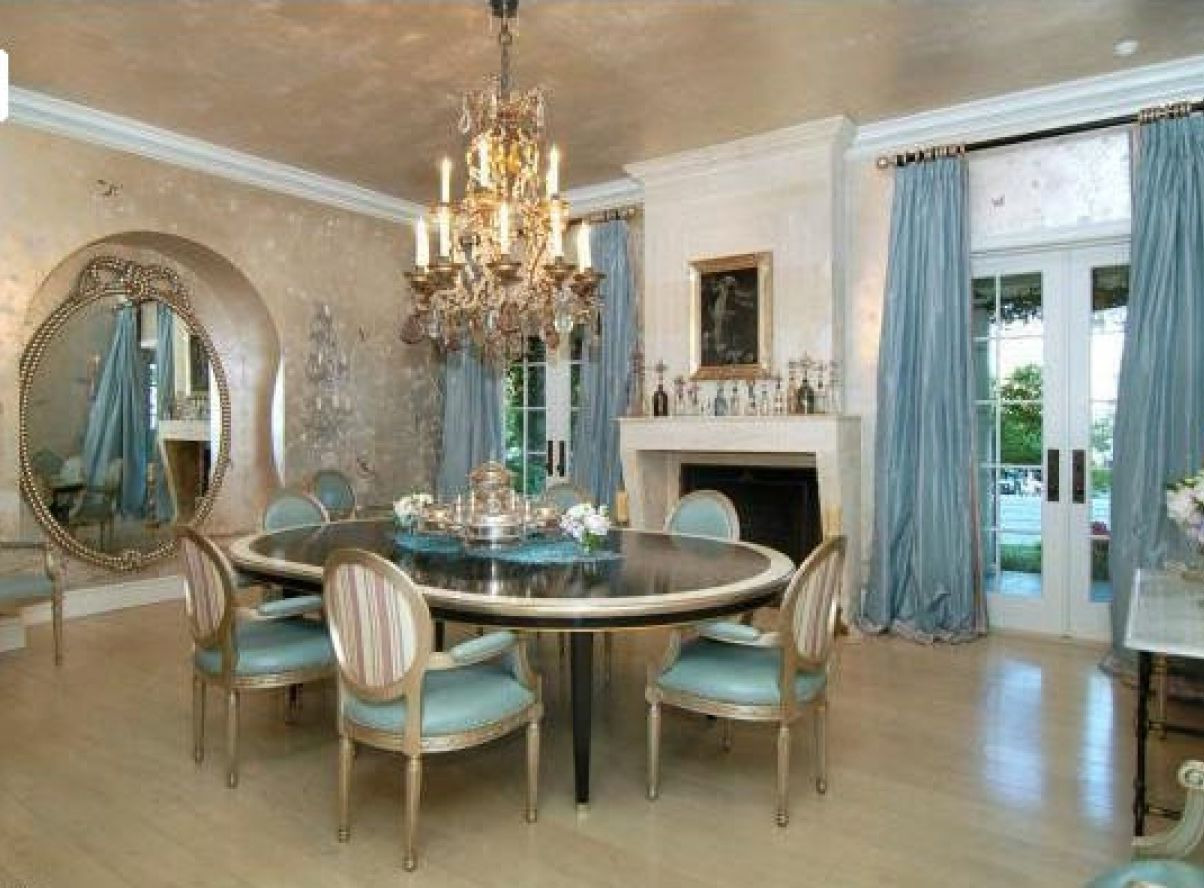How to decorate blue dining room midcityeast for Formal dining room table decorating ideas
