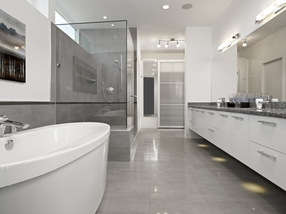 Graceful Interior Bathroom With Granite Floor Tile also Modern Furniture