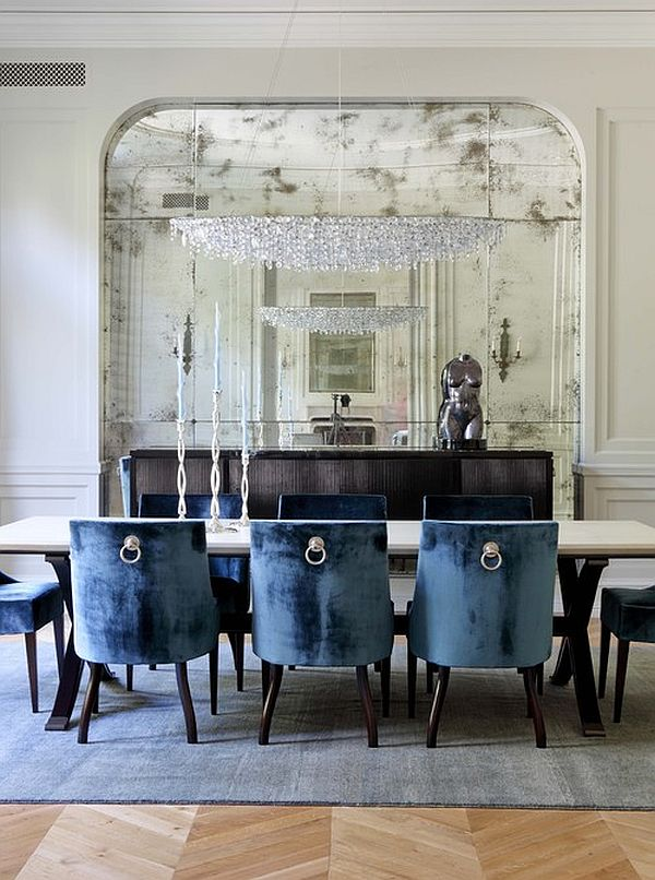 Graceful Interior Dining Area Using Blue Chairs and Rectangular Table