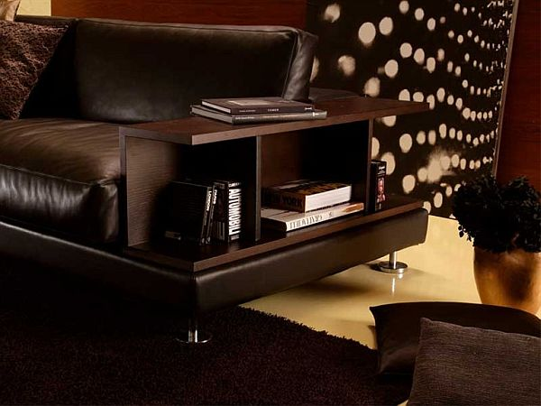 Graceful Leather Sofa Design Ideas With Minimalist Wooden Book Shelve