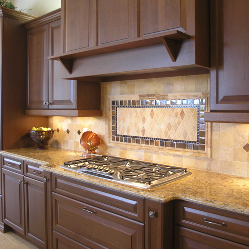Graceful Wooden Cabinet also Granite Top Plus Modern Kitchen Backsplash