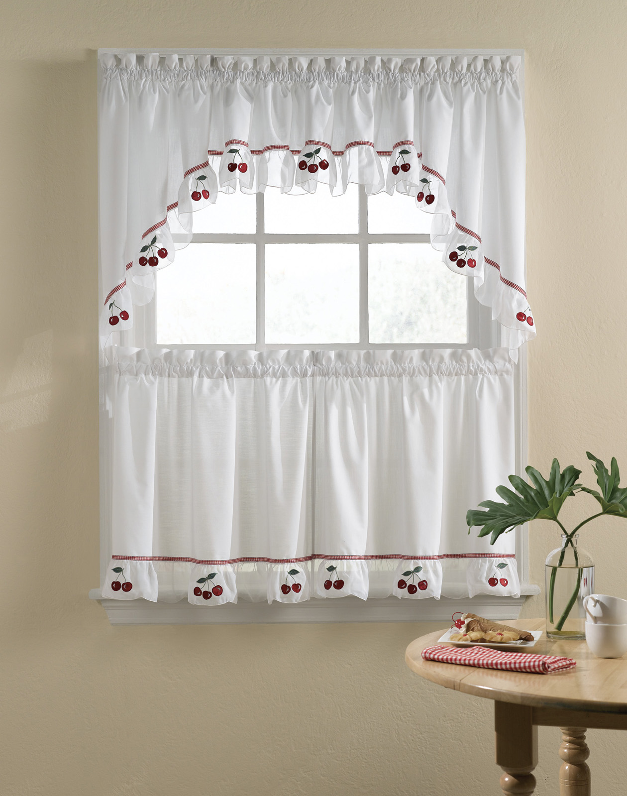 Grand Design Of White Fabric Kitchen Curtain Ideas With Cherry Accents