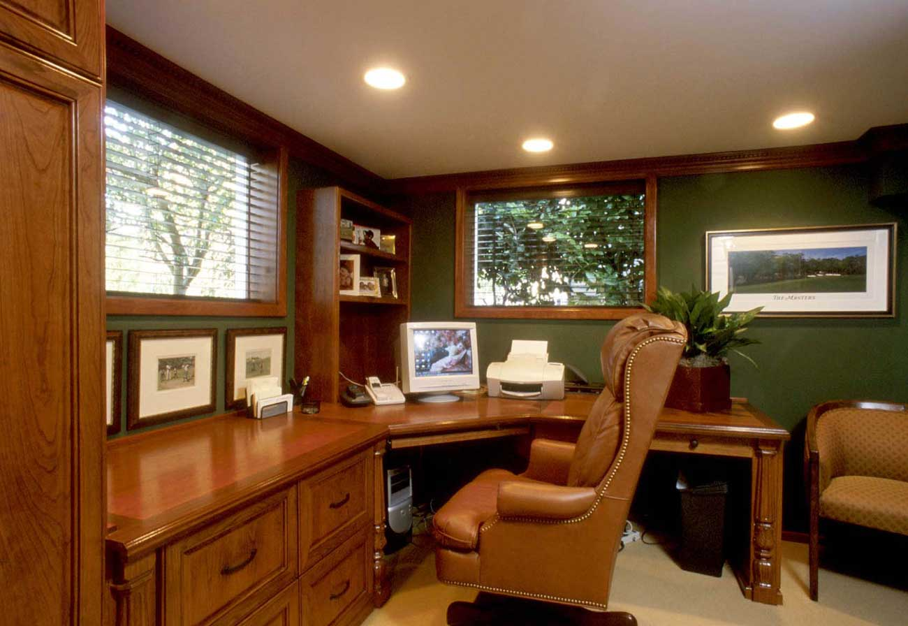 Great Concept Of Modern Home Office Using Brown Desk and Chair