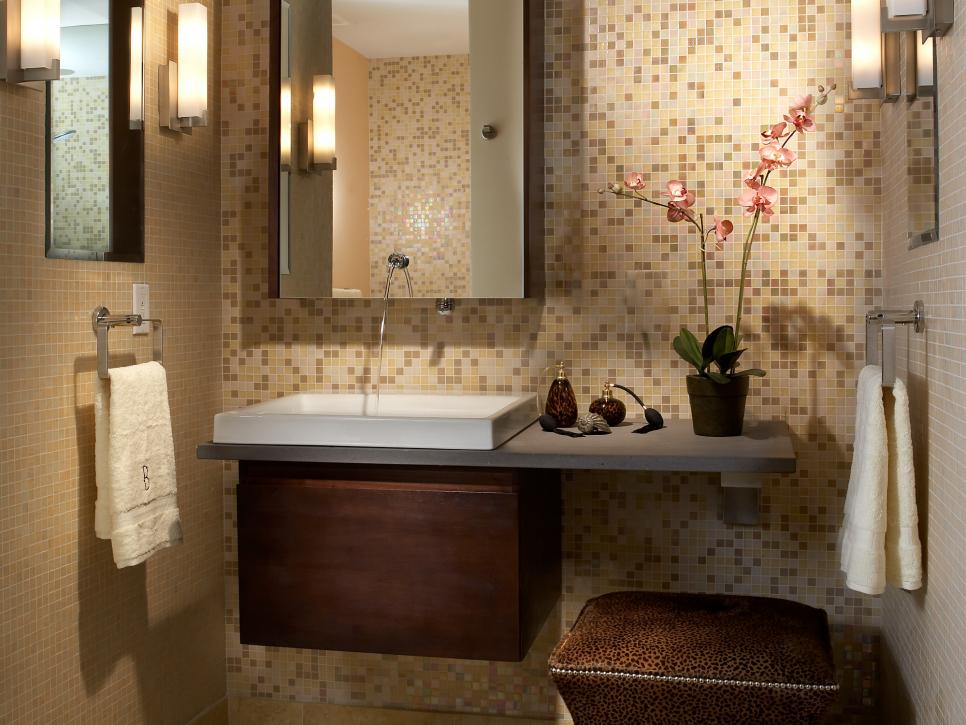 Horrible Bathroom With Small Wall Tile also Neat Vanity and Stool