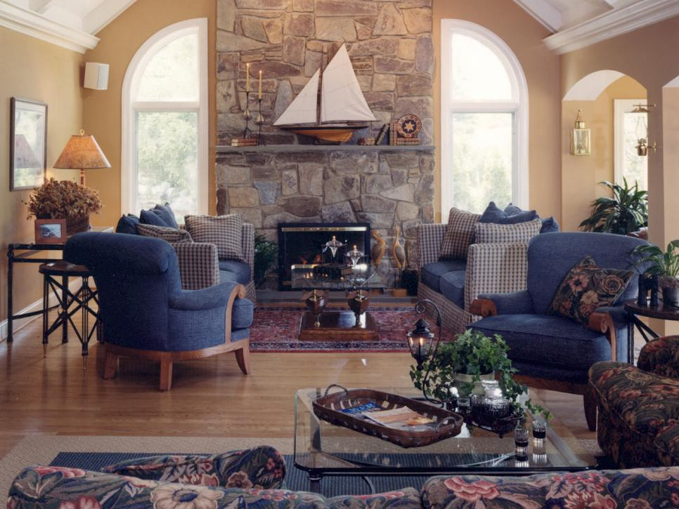 Horrible Interior Living Room With Blue Sofas Also Fireplace Hearth Ideas