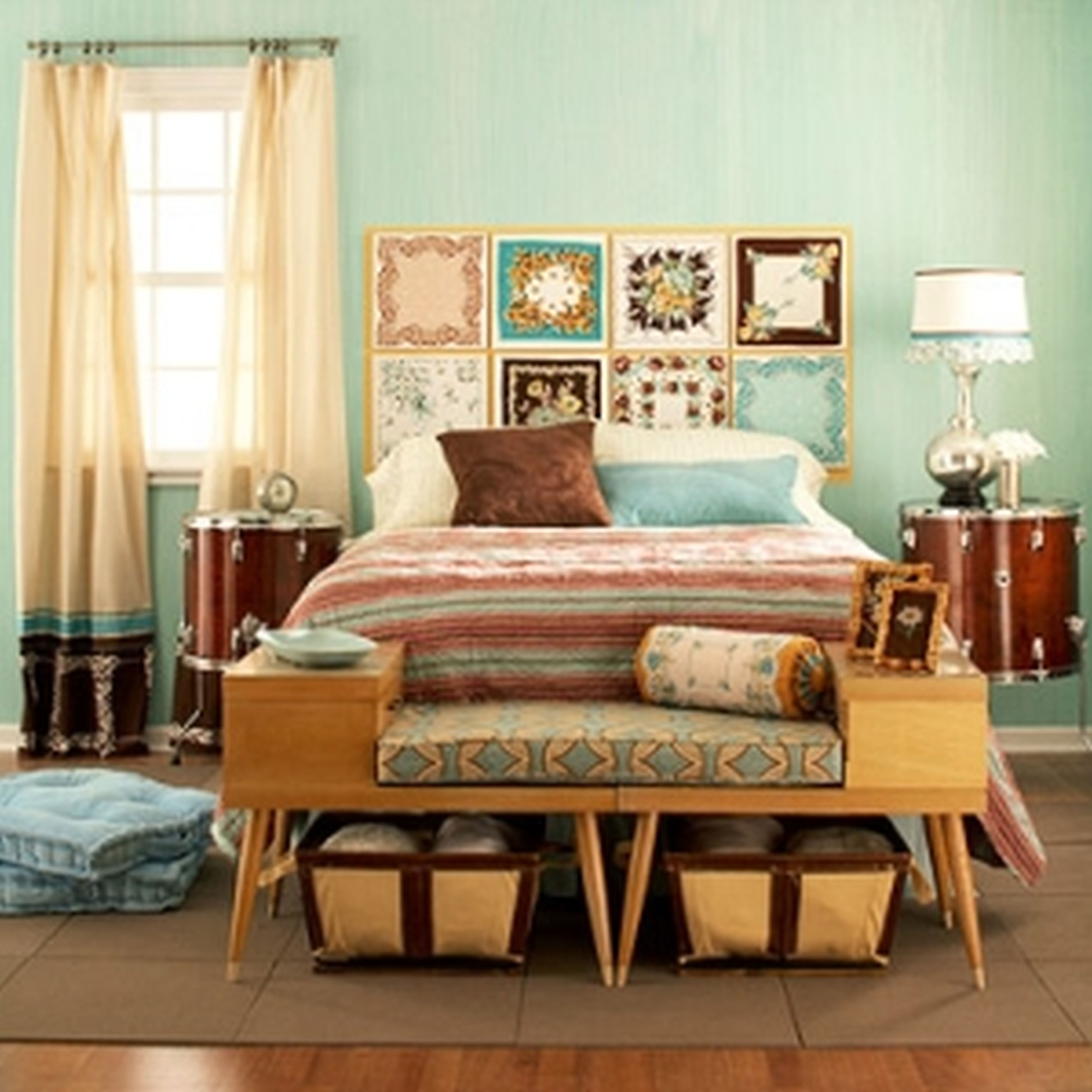 Hunky Bedroom Contemporary Home Decor With Bed also Charming Bench