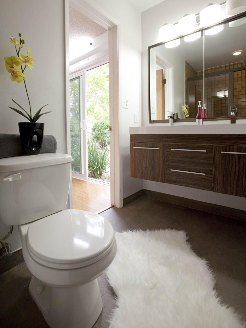 Hunky Concept Of Small Bathroom With Toilet also Wooden Cabinet and Mirror