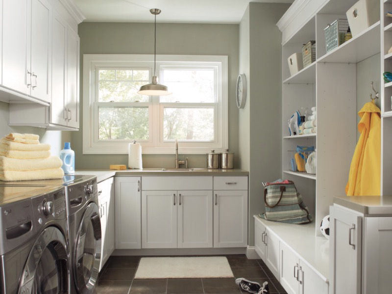 Ideas Interior Laundry Room With Cabinet also Washing Machine Decor