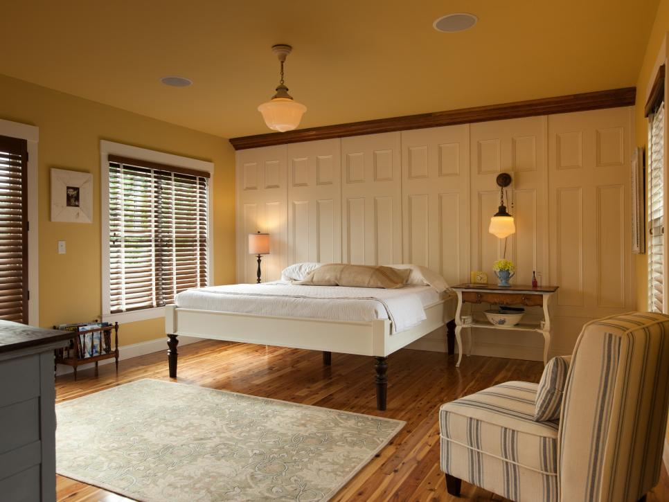Impressive Bedroom With White Decorative Wall Paneling also Charming Bed