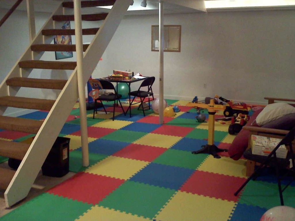 Impressive Interior Basement Using Colorful Carpet also Lush Table Set