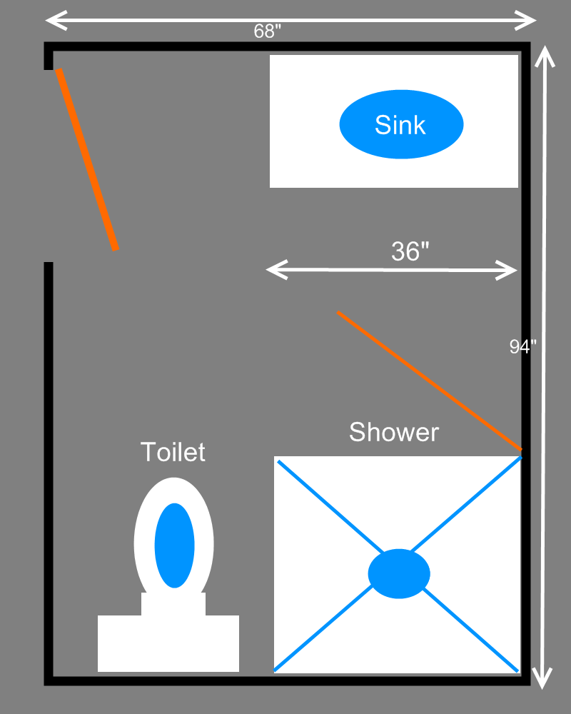 Interesting Bathroom Floor Plan With Sink also Shower Area Beside Toilet