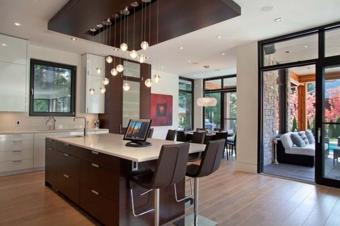Interesting Concept Of Kitchen Bar Ideas With Chairs Under Chandelier