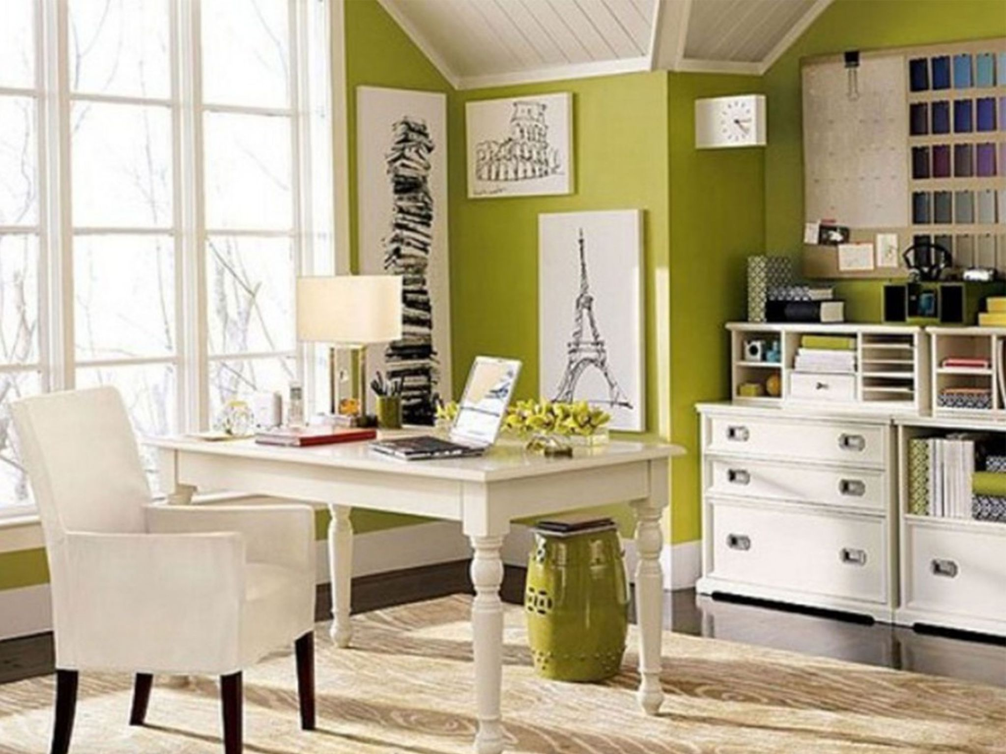 Interesting Desk and Chair also Green Wall For Modern Home Office
