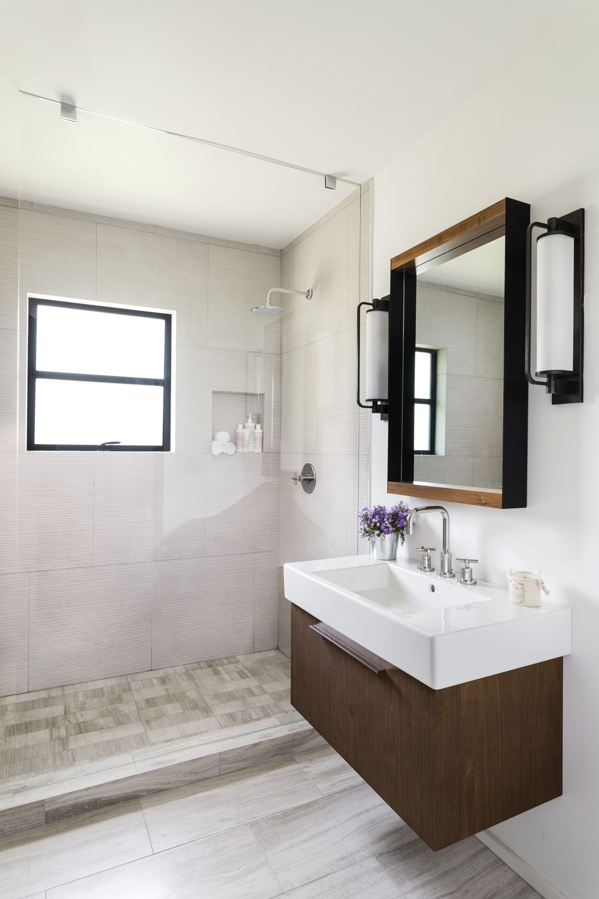 Interesting Interior Small Bathroom With Open Shower Area also Neat Vanity