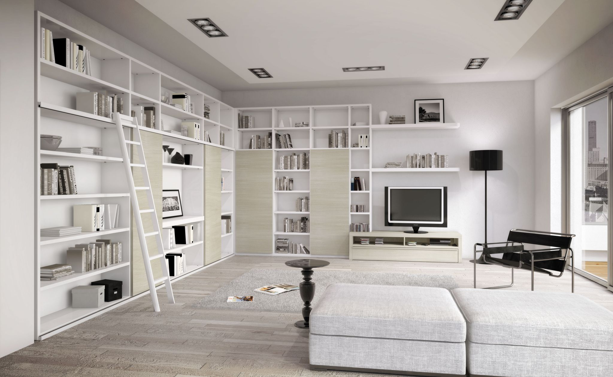 Interesting Interior White Living Space Using Book Shelve and Charming Sofa