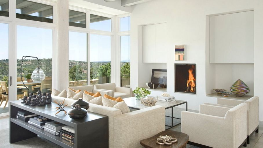 Interesting Living Area Using Electric Fireplace and Sofa With Storage