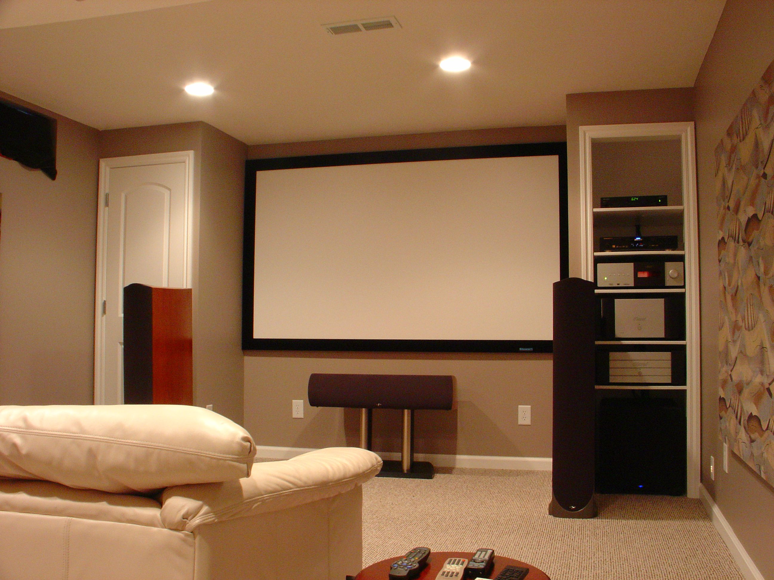 Inviting Basement Lighting Ideas also Sofa Plus High Speaker Shelve