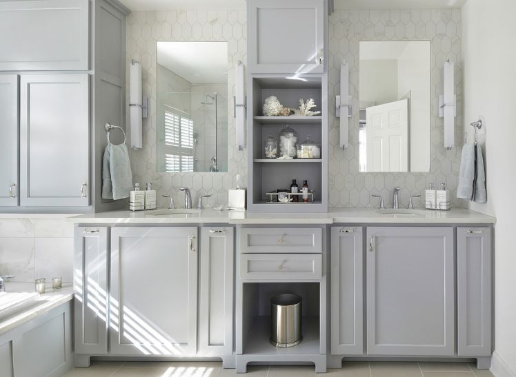 Inviting Interior Bathroom Using Gray Cabinet With White Countertop Part 40