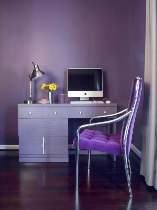 Lavish Home Office With Purple Wall and Chair also Cute Computer Desk