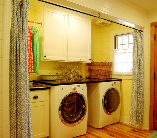 Lavish Laundry Room Curtains also Wahsing Machine With Dark Top