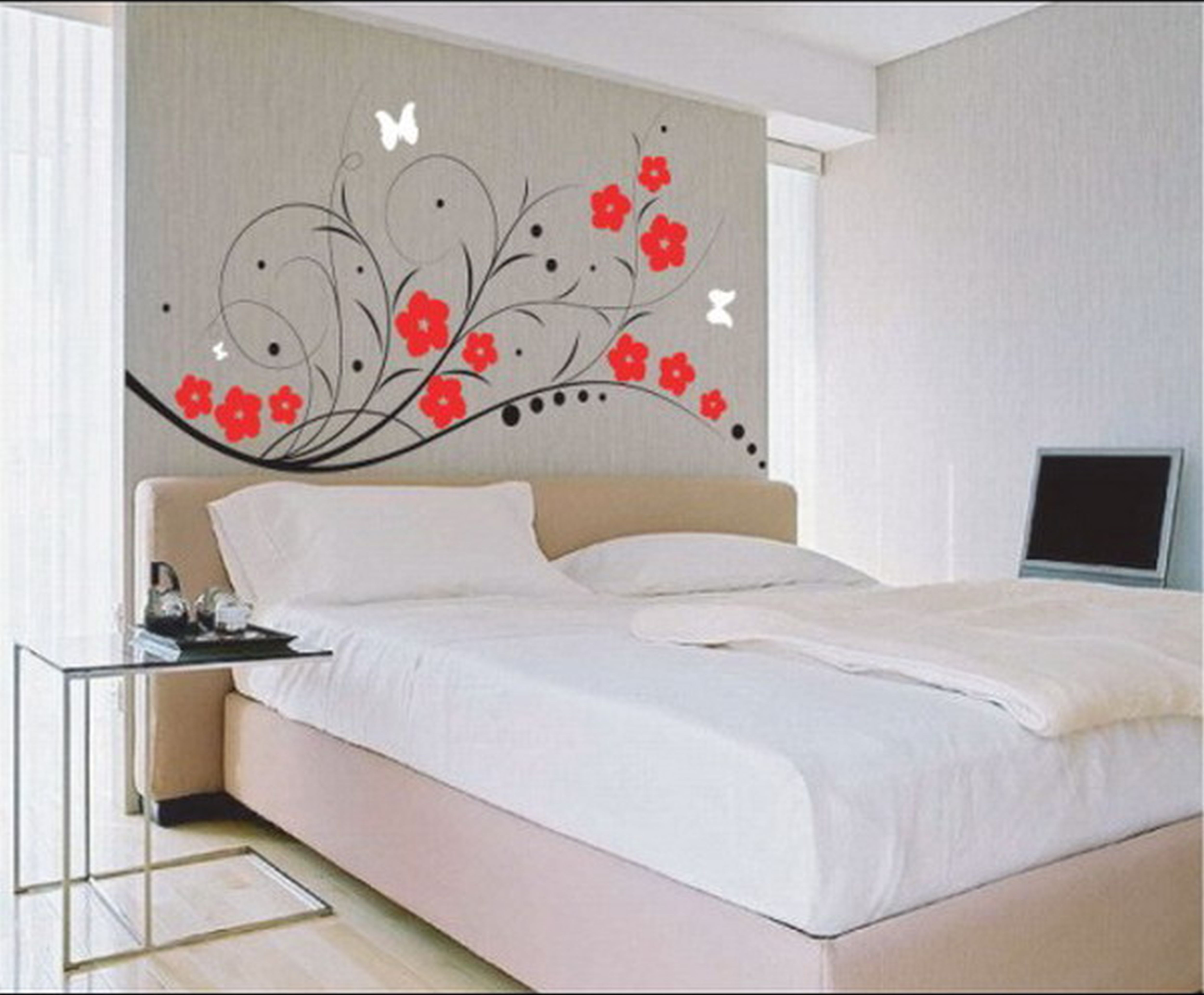 Luxurious Wall Art Design also Bed Plus Table For Bedroom Design