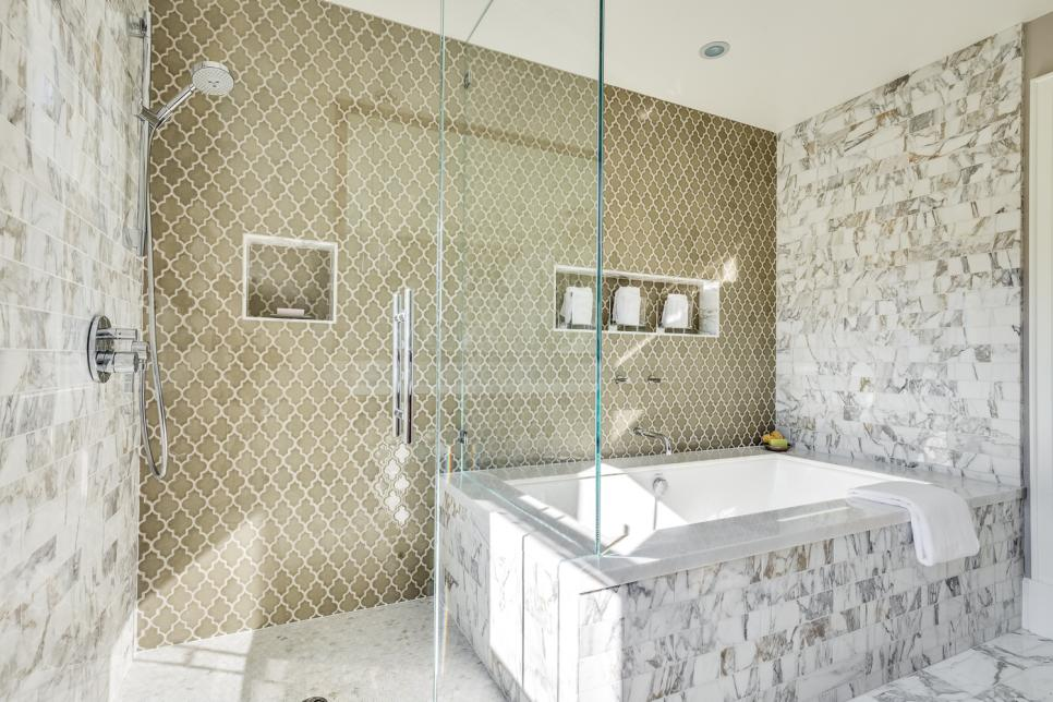Luxurious Wall and Floor Tile also Visible Glass Door For Decorating Shower Area
