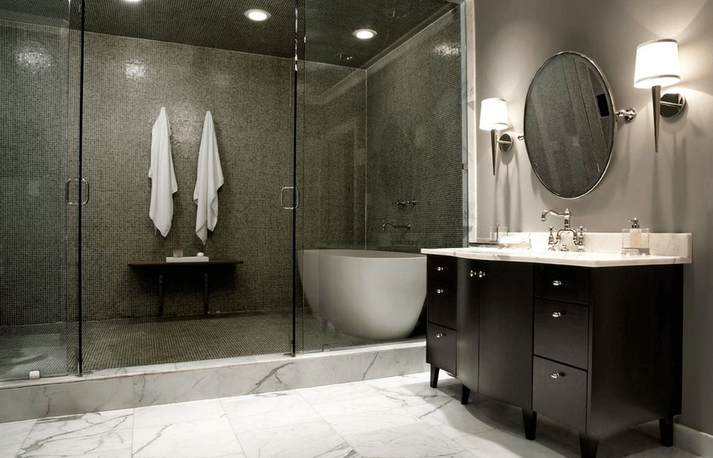 Magnificent Marble Floor Tile also Dark Cabinet and Circle Mirror