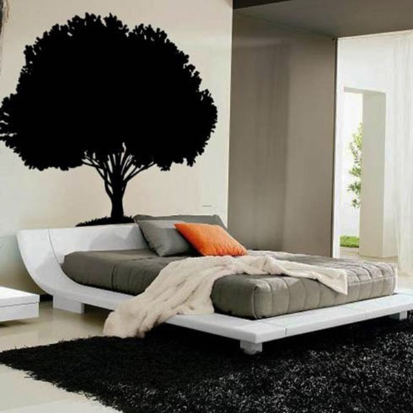 Marvelous Bedroom Design With Neat Bed also Tree Wall Art Design