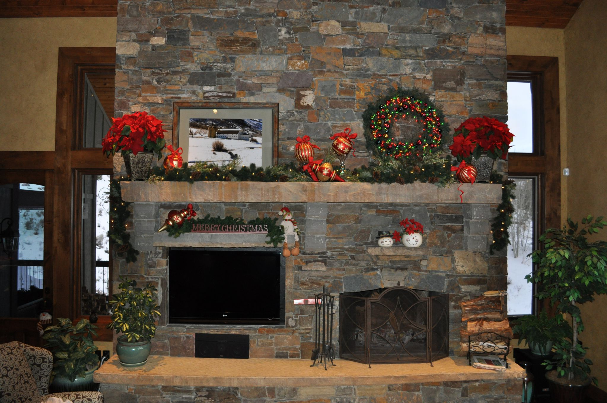 Marvelous Interior Room With Natural Stone Fireplace Ideas also Christmast Decor