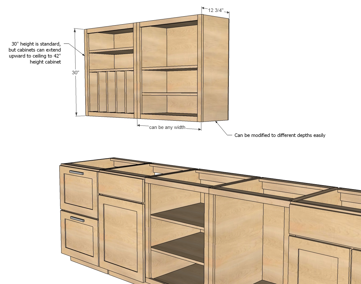 Marvelous Wooden Kitchen Cabinet With Drawers and Neat Countertop Style