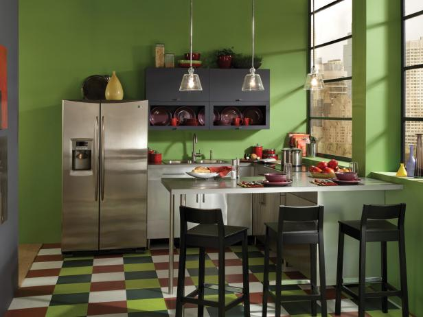 Minimalist Cabinet and Bar Table Also Green Kitchen Color Trends