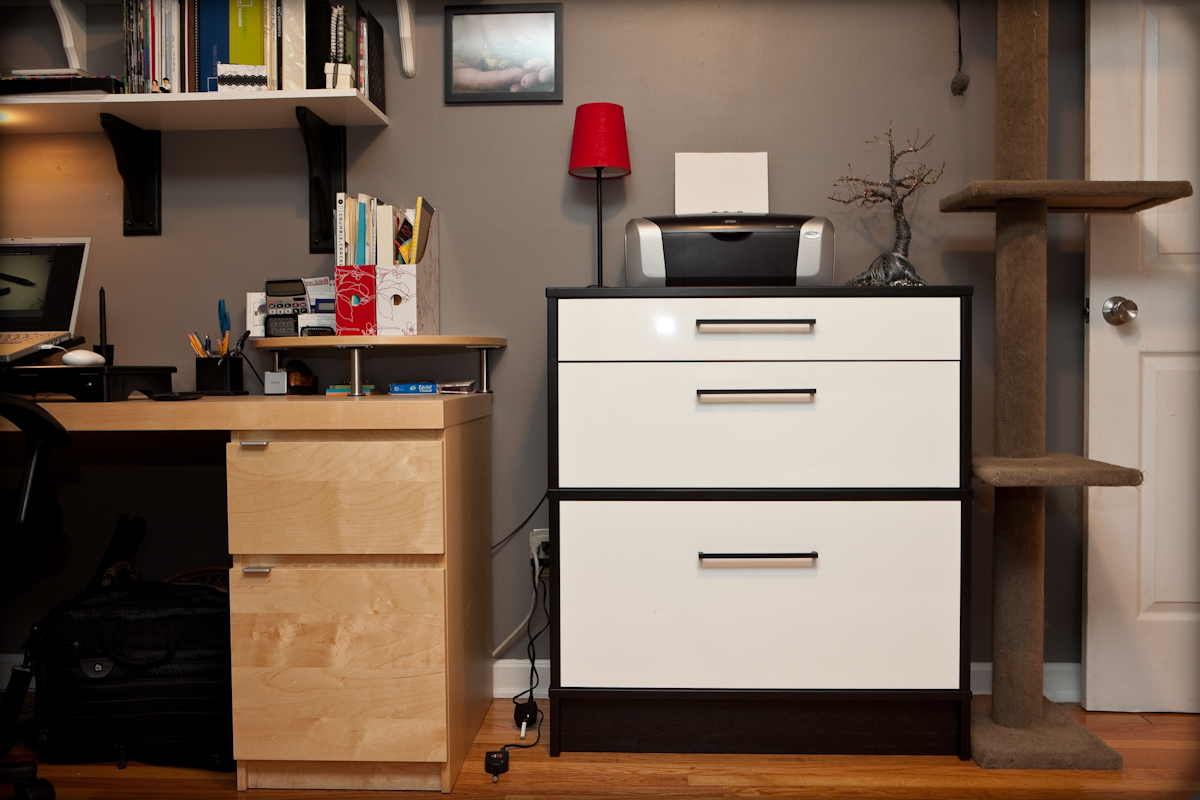 Minimalist Dresser beside Desk also Mount Shelve For Designing Home Office