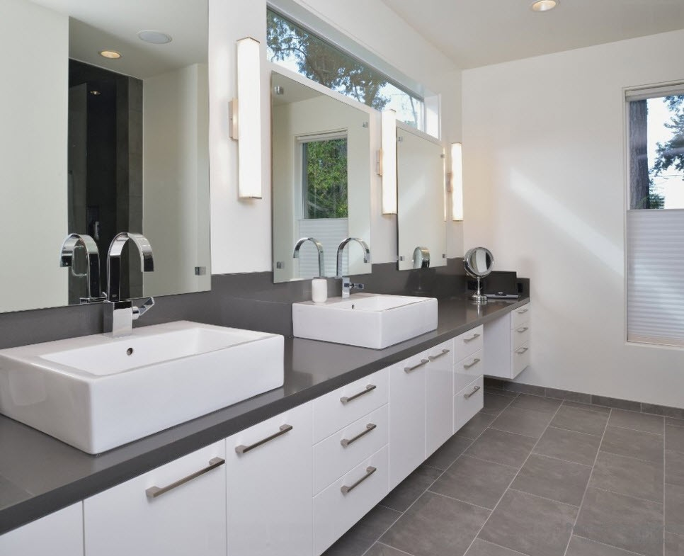Modern Style Of Gray And White Bathroom With Cabinet Also Sleek Countertop