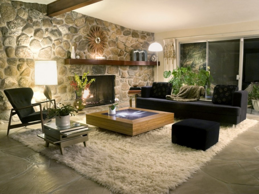 Natural Stone Fireplace Mantel also Black Furniture For Living Room