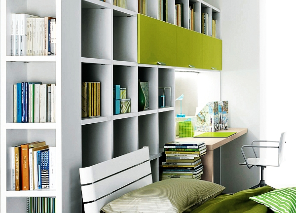 Nervous Interior Home Office Using High Book Shelve and Simple Desk Set