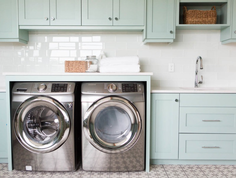 Nervous Interior Laundry Room With White Backsplash also Blue Cabinet