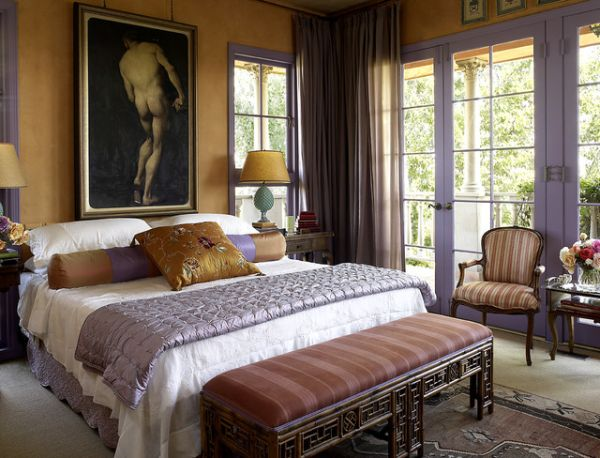 Nice Interior Bedroom Using Beautiful Painting and Bed Without Headboard