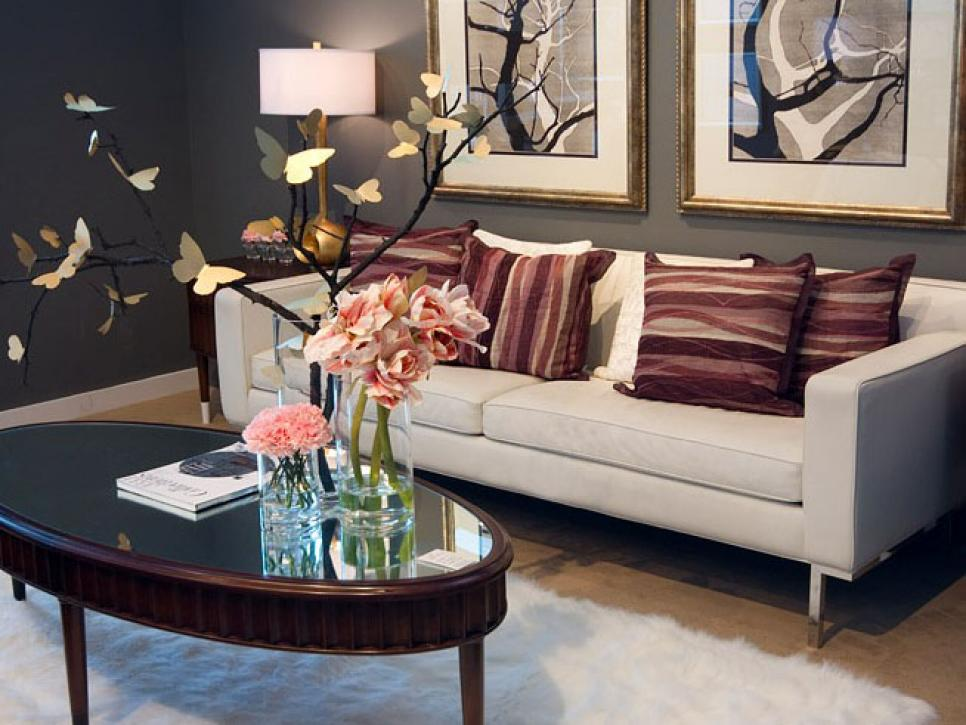 Nice Sofa also Oval Table Plus Flower Accessor For Living Room