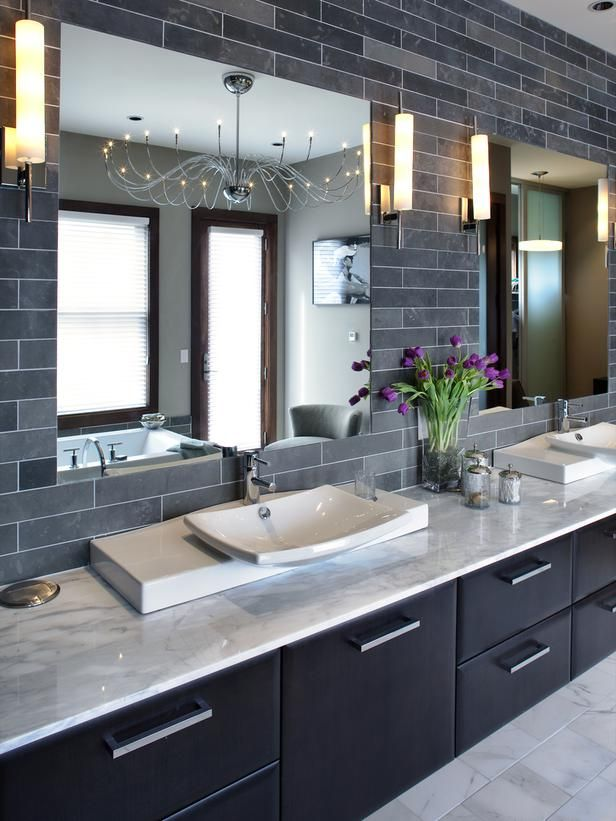 Opulent Interior Bathroom With Gray Wall Tile and Cabinet also White Top