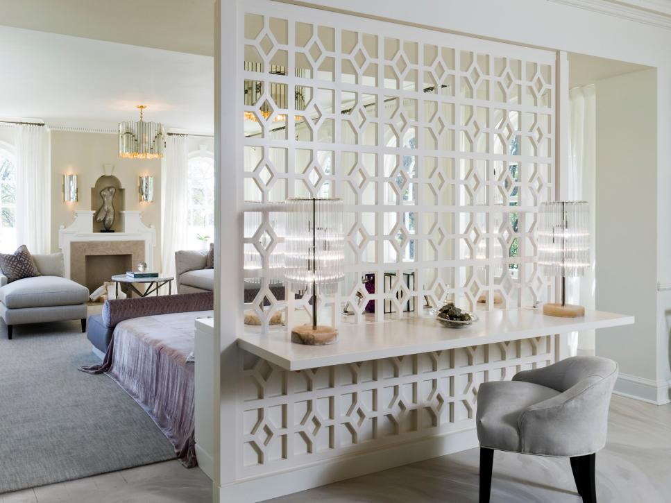 Opulent Room Decor With Fancy Wall Panelling also Hanging Desk and Cute Chair