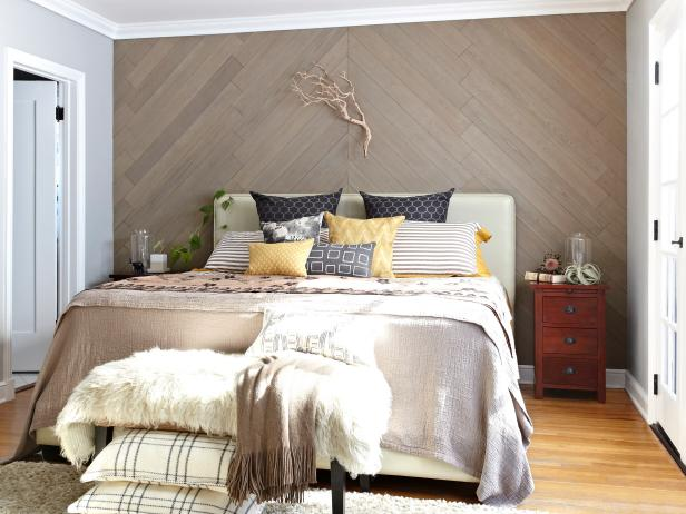 Pleasant Bedroom Design Using Wooden Wall Panelling also Bed Decor