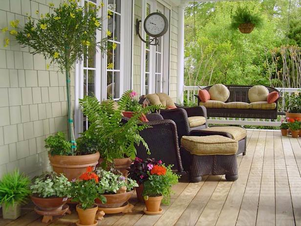Pleasant Concept Of Small Porch Ideas With Various Plants On Pots