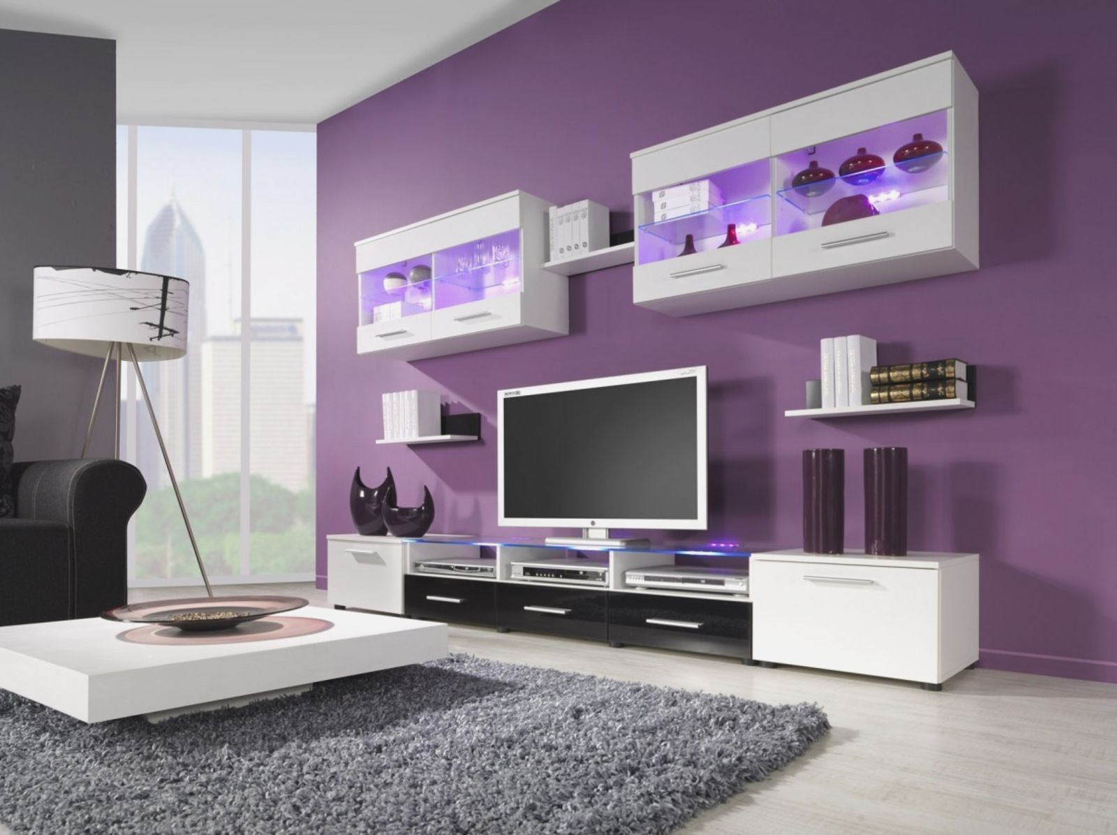 Pleasant Wall Paint For Impressive Purple Living Room Design Idea