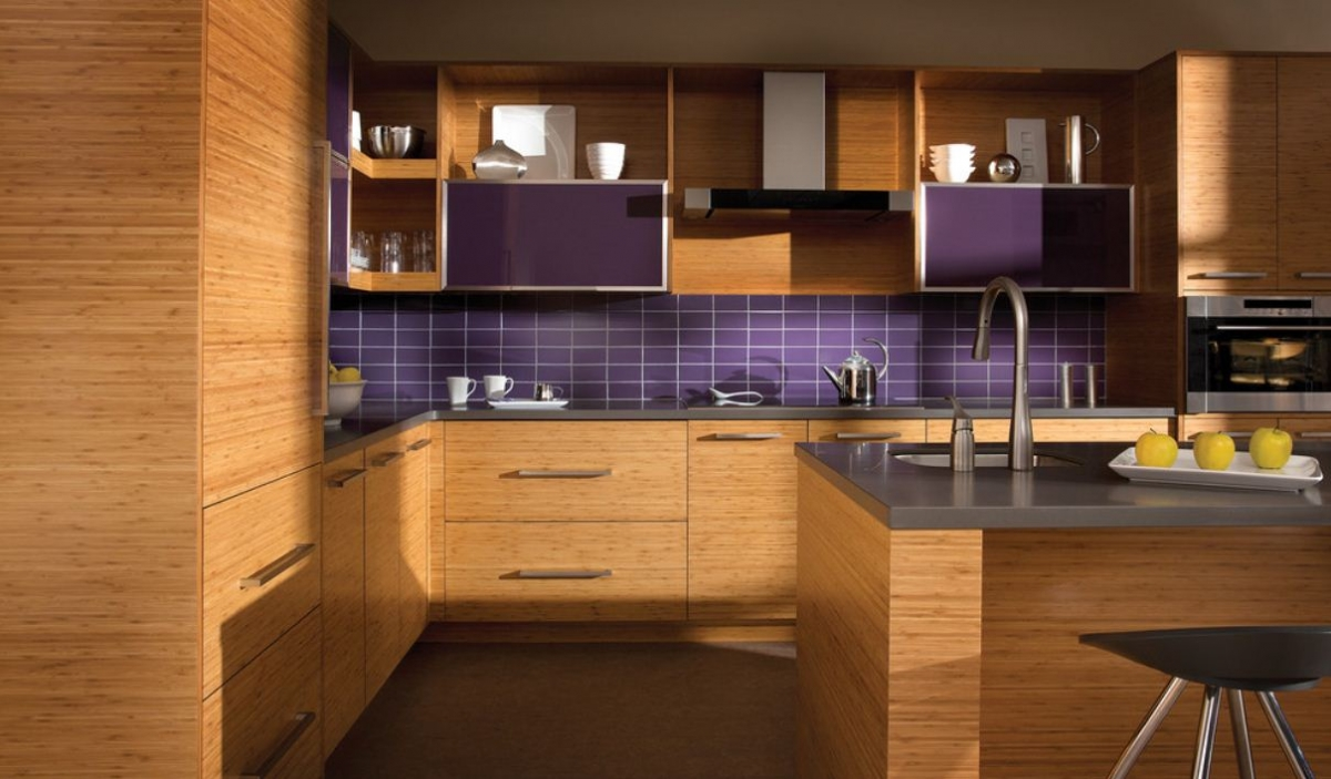 Pleasing Interior Kitchen With Wooden Cabinet also Modern Purple Backsplash