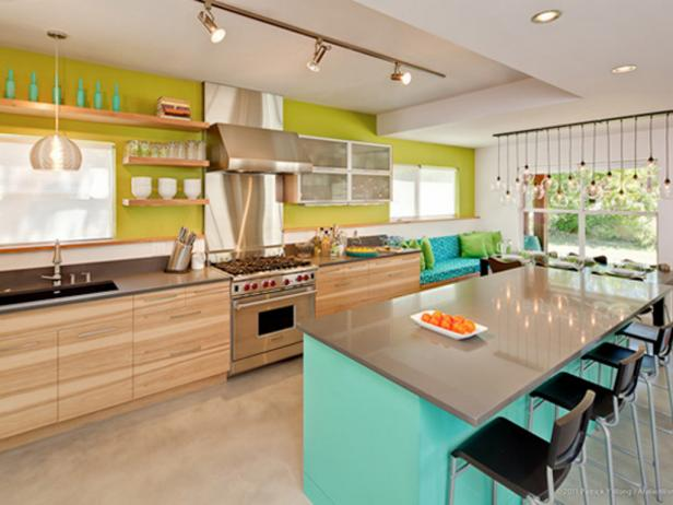 Pretty Interior Kitchen Color Trends With Mounted Shelve and Cabinet