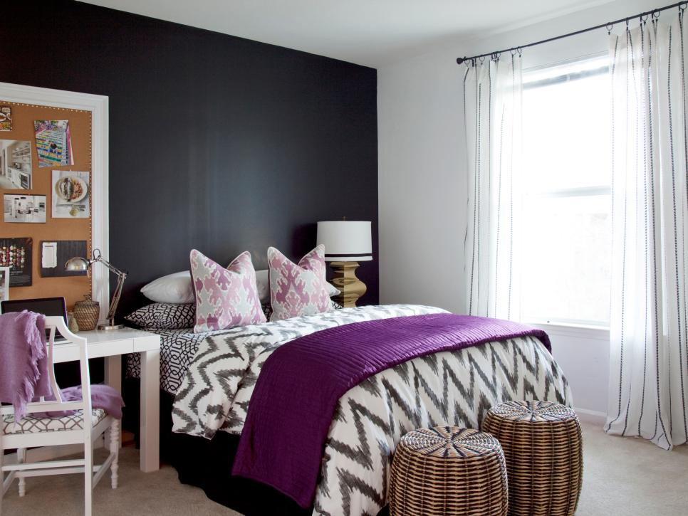 Pretty Teenage Room With Bed also Purple Blanket plus Simple Desk