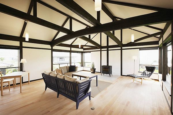 Radiant Interior Japanese House Using Black Beams and Chair alsoFireplace